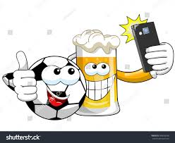Cartoon beer and soccer ball taking selfie with smartphone isolated