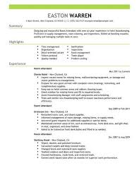Room Attendant Resume Example