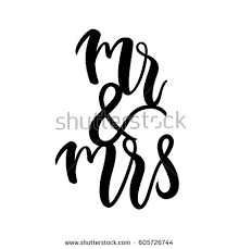 Bride And Groom Mr Mrs Wedding Label Modern Calligraphy For Banner