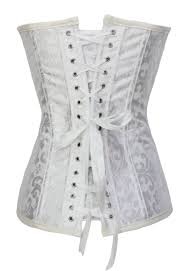 cheap white steel bone brocade steampunk corset set