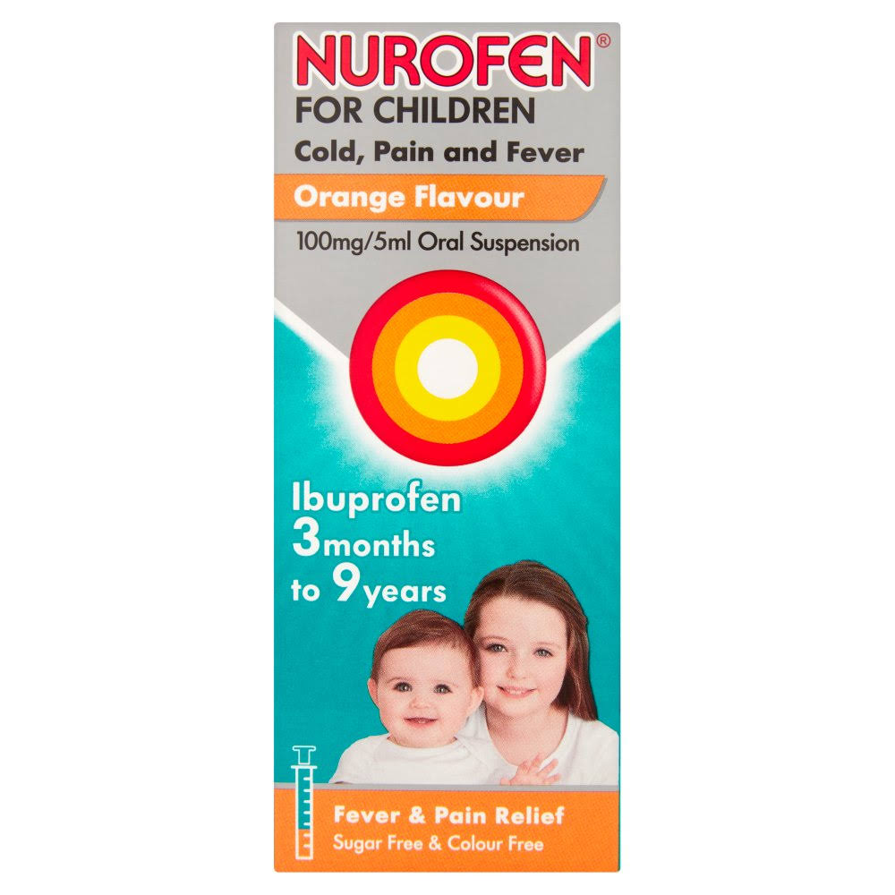 Nurofen For Children Ibuprofen Oral Suspension - Orange Flavour, 100mg, 100ml