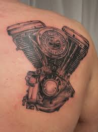 Grey And Black Harley Davidson Engine Tattoo On Right Back Shoulder