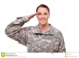 Stock Images Female American Soldier Saluting 3Jx40z Clipart