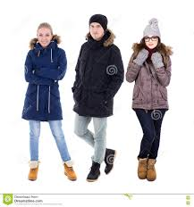 full length portrait of young man and two women in winter clothe