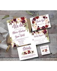 Wedding Invitation Template Printable Set Marsala