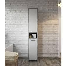 freistehend badezimmer nemo schrank hoch schrank 167cm beton grau mit hochglanz weiß badmöbel badschrank