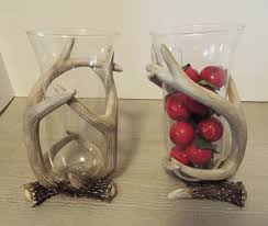 Wolfard Hand Blown Oil Lamps by Candle Holder Or Flower Vase Faux Deer Antler W Clear Hurricane
