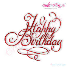 Happy Birthday Calligraphy Script Embroidery Design