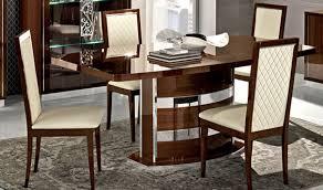 Roma Dining Room Set In Walnut High Gloss