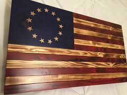 Betsy Ross Flag Colonial Red White Blue Rustic Wood Log Cabin Early American Decor Wooden Home