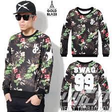Online Shop Autumn Spring 2014 Famous Brand Swag 99 Digital Flower Sweatshirt Men Clothing Vintage Print