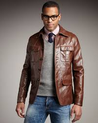 dsquared leather military jacket in brown for men lyst