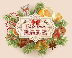 Christmas Sale Vintage With Traditional Decoration Tree Branches And Sweets Design For Any