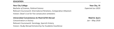 Study Abroad Resume Sample 2 Experience Section