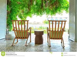 Rocking Chair In The Terrace On The Garden Stock Photo ...