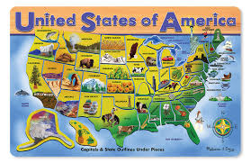 USA Map Educational Wooden Jigsaw Puzzle