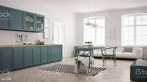 minimalistische moderne küche mit esstisch und wohnzimmer weiß und blau luftwaffe skandinavischen interior design stockfoto und mehr bilder