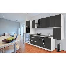 respekta küchenzeile ohne e geräte 330 cm grifflos grau hochglanz weiß