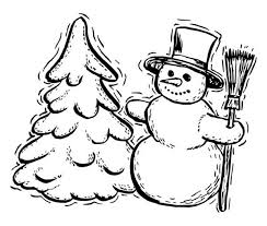 Traditional Winter Season Figures Mr Snowman And Pine Tree Coloring Page