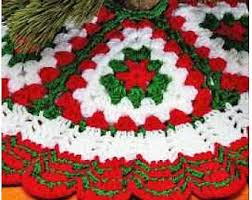 Vintage Crochet Pattern Quick Easy Granny Square Christmas Tree Skirt PDF Instant Digital Download Bulky 12 Ply 36