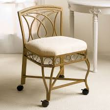 brown gray fabric vanity chair with ornate wrought iron frame and