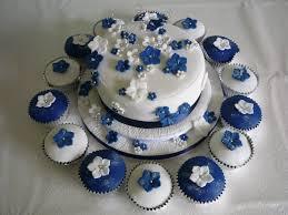 Navy Blue And White Wedding Cake Cupcakes