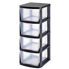 Muscle Rack 4 Drawer Clear Plastic Storage Tower with Black Frame
