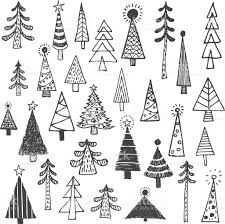 Christmas Tree White Spruce Fir Simple Drawing Set Royalty Free