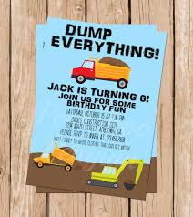Dump Truck Invitations, Construction Party Invites, Kid's Birthday ... Custom Birthday Invitations Free Custom Printable Monster Truck Dump Party Unique Diy Garbage Tonka Cstruction Best Of Deluxe For Boys Cards Fresh Invitationsunder Etsy With Free Printables How To Nest Less Ideas Invites Kids Invitation Fire Engine