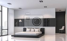 fototapete moderne schwarze und weiße schlafzimmer innenraum minimal stil