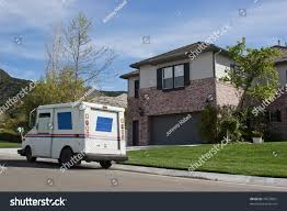 Mail Truck Makes Stop Residential Neighborhood Stock Photo (Edit Now ...