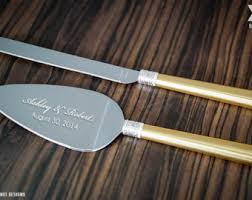 Personalized Vera Wang With Love Gold Wedding Cake Knife And Server Set