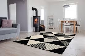 dekoration kurzflor teppich dreier geometrisch schwarz weiß