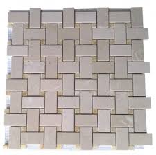 Beige 1x2 Basketweave Marble Mosaic Tile With Honey Onyx Inserts