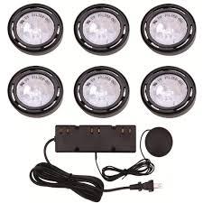 hton bay 6 light xenon black cabinet puck light kit