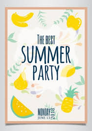 Summer Party Poster Fruit Background Classical Handdrawn Design Vectors Stock