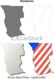 Mendocino County California Outline Map Set