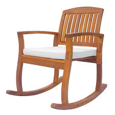Outsunny Outdoor Patio Acacia Wood Rocking Chair With Cushioned Seat - White
