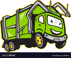 Garbage Rubbish Truck Cartoon Royalty Free Vector Image