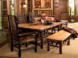 Chairs Furniture Rustic Dining Room Tables Interior Lodge Log And Timber Handcrafted