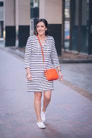 Jo Lynne Shane Wearing Old Navy Lace Up Yoke Shift Dress In Stripe