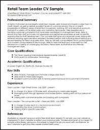 Retail Team Leader CV Sample