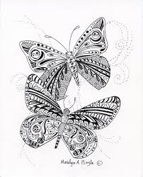 ORIGINAL ZENTANGLE BUTTERFLIES Pen And Ink Doodles Nature Wall Art 5 X