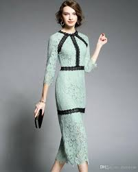 women long sleeve lace midi dress elegant party prom gowns