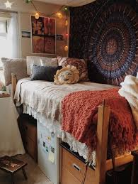 Boho And Vintage Inspired Dorm Room With A Patterned Rug On The Wall Crochet