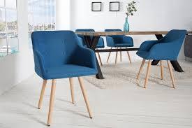 esszimmerstuhl strukturstoff blau buche mit armlehne dunord