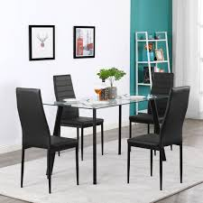 Details About Hot 5 Piece Dining Table Set 4 Chairs Glass Metal Kitchen  Room Furniture Black Hever Ding Table With 5 Chairs Bench Chelsea 5piece Round Package Aqua Drewing And Chair Set By Benchcraft Ashley At Royal Fniture Trudell Upholstered Side Signature Design Dunk Bright Lawson Piece Includes 4 Liberty Darvin Barzini Black Leatherette Coaster Value City Pc Kitchen Set A In Buttermilk Cherry East West The District Leaf Intercon Wayside Grindleburg Vesper Round Marble Ding Table Piece Set Brnan Amazoncom Tangkula Pcs Modern Tempered