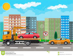 Tow Truck. City Road Side Assistance Service. Stock Vector ...