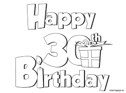 Happy 30 Birthday Coloring Page