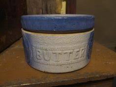 Antique Blue White Salt Glazed Stoneware Butter Crock & Lid Flower